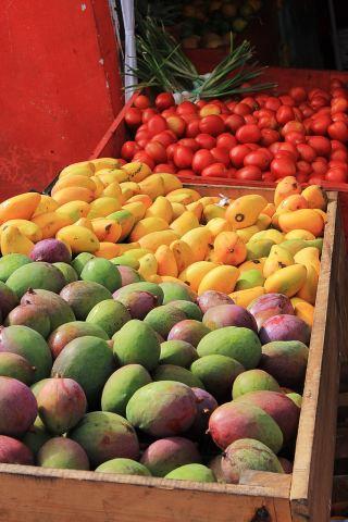 芒果、水果、红色