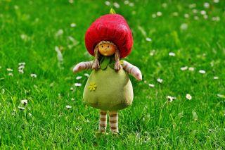 春天草地上的玩偶