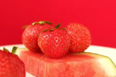 草莓、红色、瓜