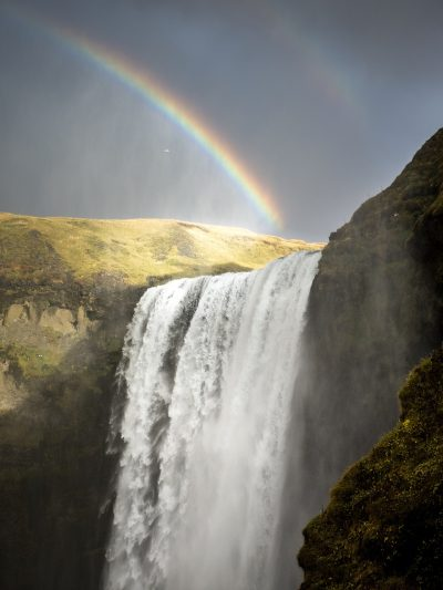 大瀑布、冰岛、彩虹
