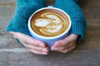咖啡、蓝色、杯