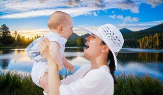 幸福快乐的母婴人物