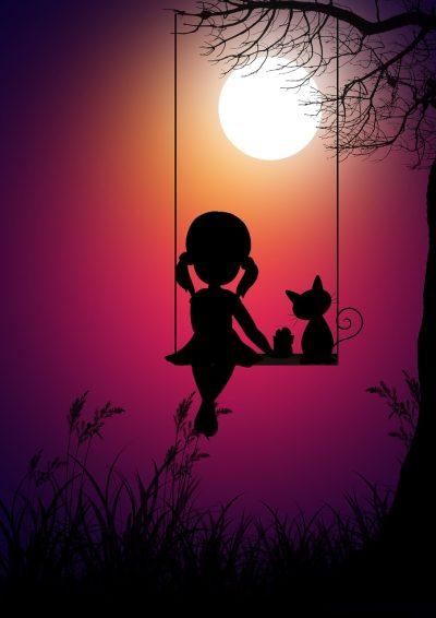 女孩、月亮