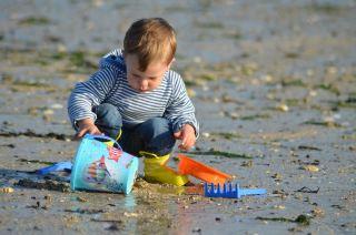 儿童、海滩、马林