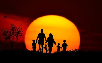 日落、家庭、景观
