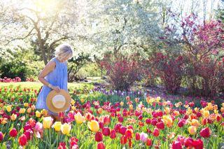 在花丛中拿着草帽微笑的女人