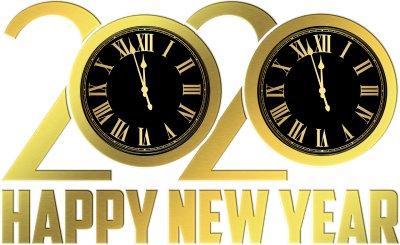 新年快乐、新年钟、金箔2020年