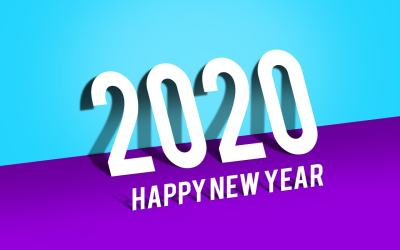 新年快乐Happy new year与2020文字图片