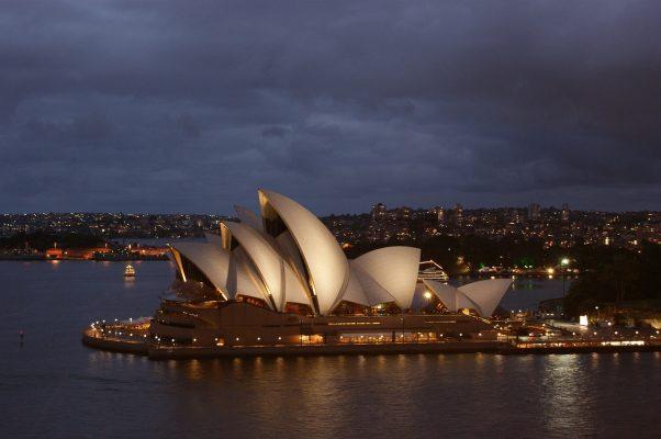 悉尼歌剧院、夜、海港