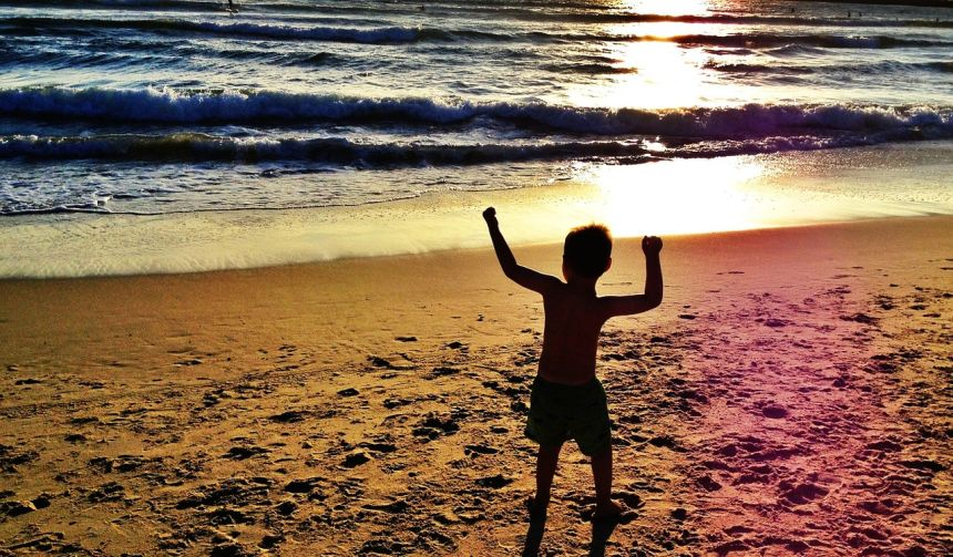 海洋、儿童、男孩