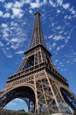 埃菲尔铁塔、天空、晚间
