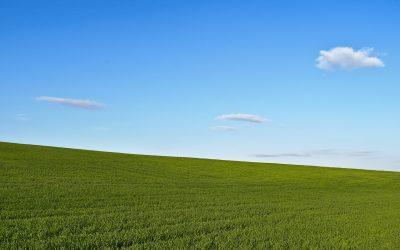 蓝天白云草地风景