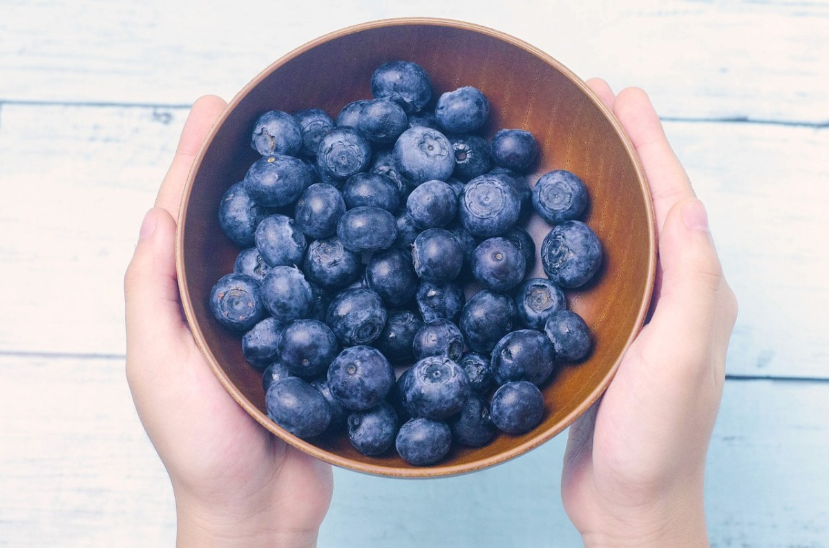 双手捧着果盘里的蓝莓