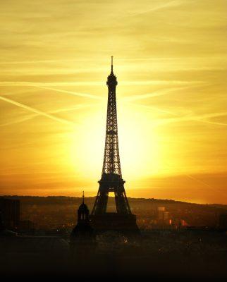 艾菲尔铁塔、日落、天空