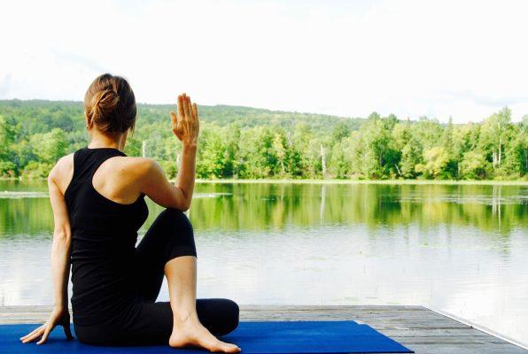 瑜伽、女子、自然