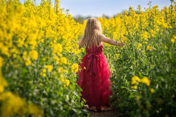 春天油菜花田里穿着长裙的金发女