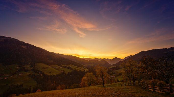 日落、高山、山